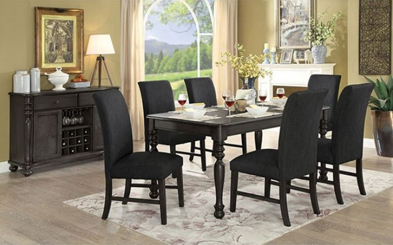 Siobhan II Formal Dining Room Set in Dark Gray