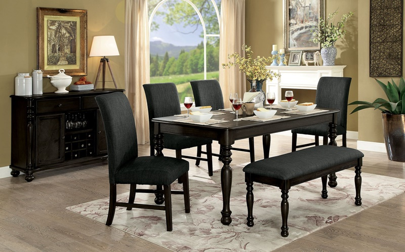 Siobhan II Formal Dining Room Set With Bench Seat in Dark Gray
