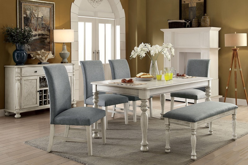 Siobhan II Formal Dining Room Set With Bench Seat in Antique White