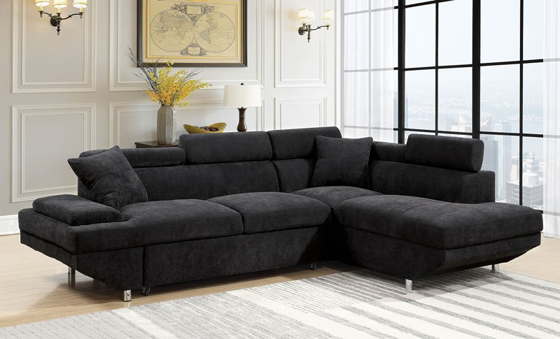 Furniture of america cm6124bk foreman sectional sofa in for Furniture of america dallas texas
