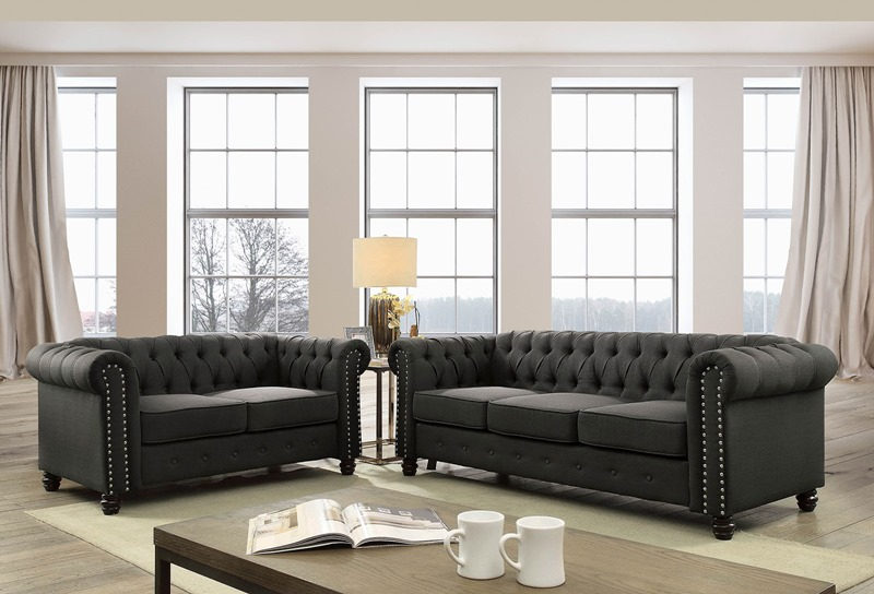 Winifred Living Room Set in Gray
