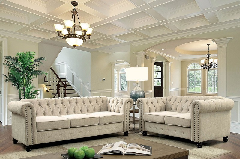 Winifred Living Room Set in Ivory