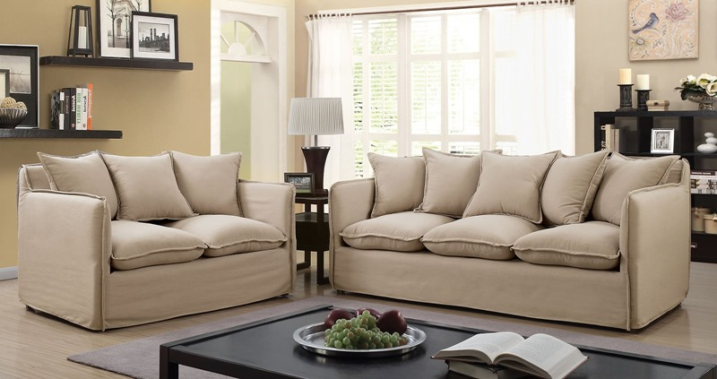 Rosanna Living Room Set in Beige