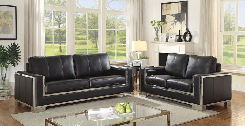 Monika Living Room Set in Black