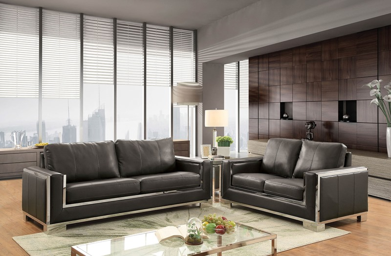 Monika Living Room Set in Gray