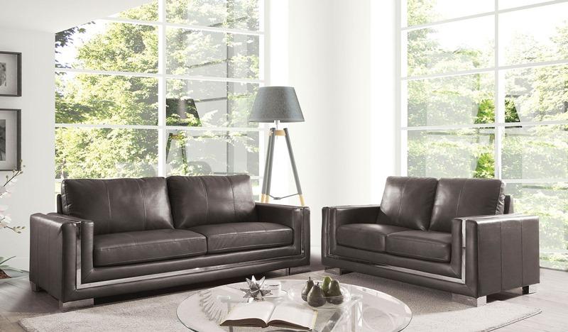 Perla Living Room Set in Gray