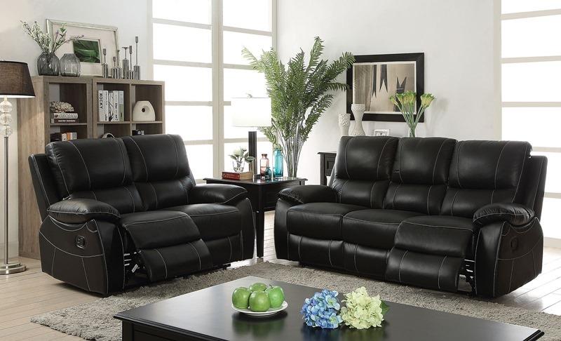 Nena Leather Reclining Living Room Set ...