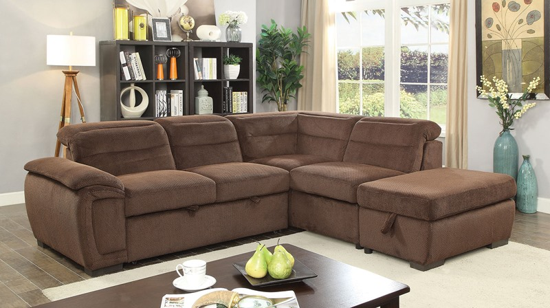 Felicity Sectional Sofa in Brown