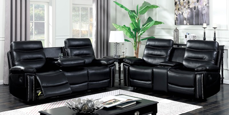 Cavan Reclining Living Room Set in Black