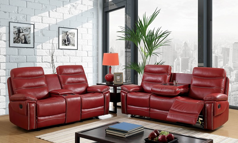 Cavan Reclining Living Room Set in Red