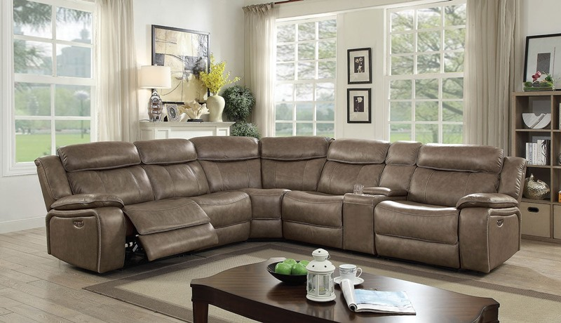 Page Leather Reclining Sectional Sofa with Power Motion