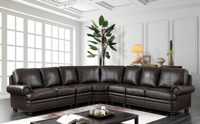 Edith Leather Sectional Sofa
