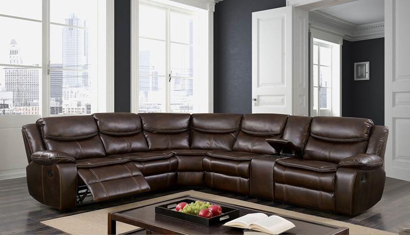 Pollux Reclining Sectional Sofa in Brown