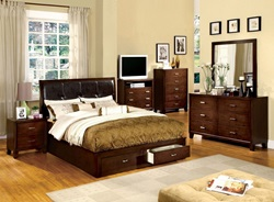 Enrico III Bedroom Set with Storage Drawers in Brown Cherry