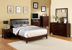 Enrico I Bedroom Set in Brown Cherry