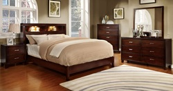 Gerico I with Bookcase Headboard in Brown Cherry
