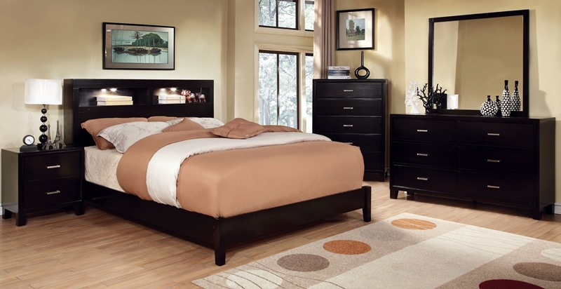 Gerico I with Bookcase Headboard in Espresso