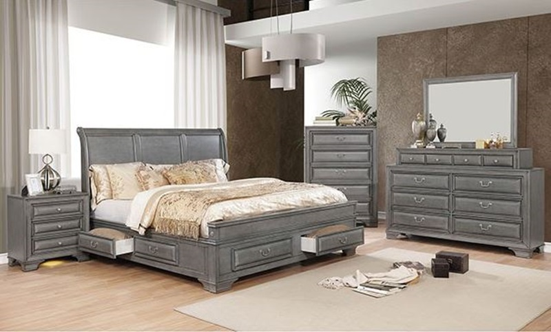 Brandt Bedroom Set in Gray with Storage Drawers