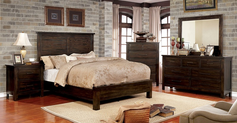 Canopus Bedroom Set in Dark Walnut
