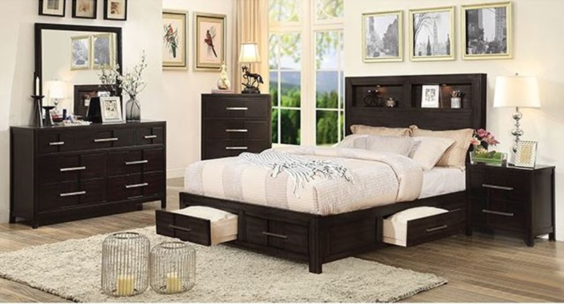 Karla Bedroom Set in Espresso with Storage Drawers