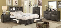Karla Bedroom Set in Gray with Storage Drawers