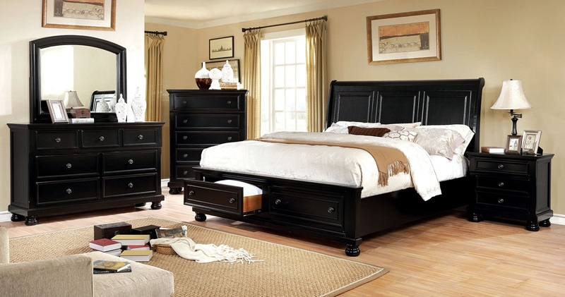 Castor Bedroom Set in Black with Storage Drawers