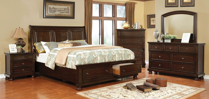 Castor Bedroom Set in Brown Cherry with Storage Drawers