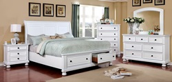Castor Bedroom Set in White with Storage Drawers