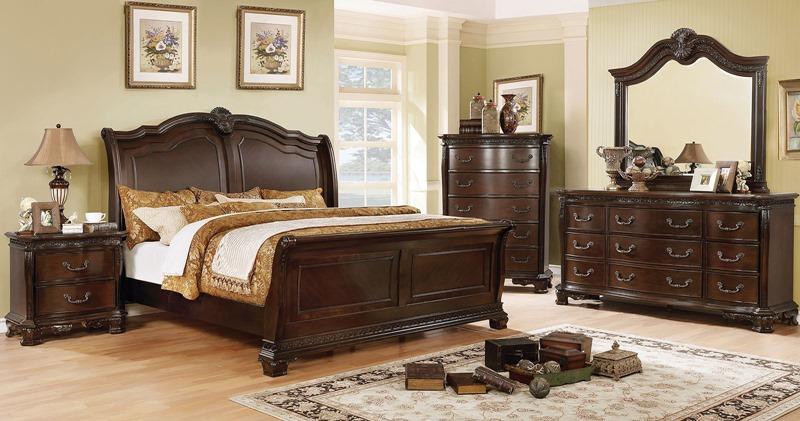 Isidora Bedroom Set in Brown Cherry