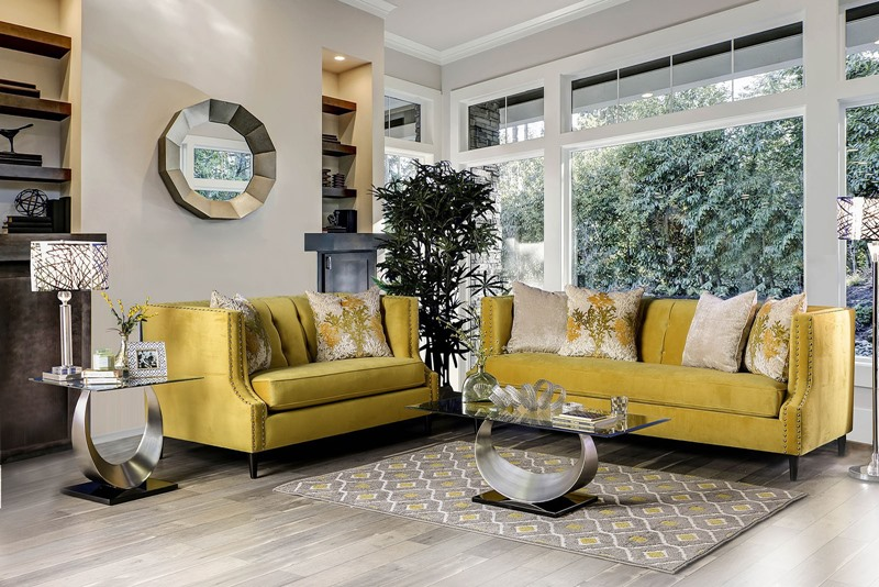 Tegan Living Room Set in Royal Yellow