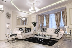 Gilda Living Room Set with Button Tufts in Beige