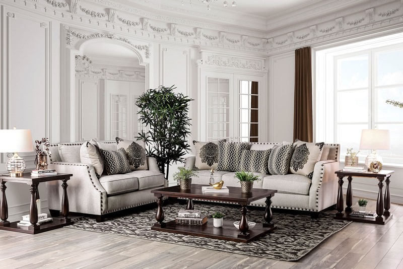 Cornelia Living Room Set with Beige Chenille