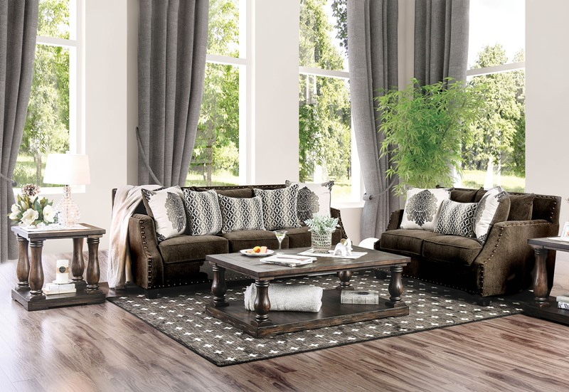 Cornelia Living Room Set with Dark Brown Chenille