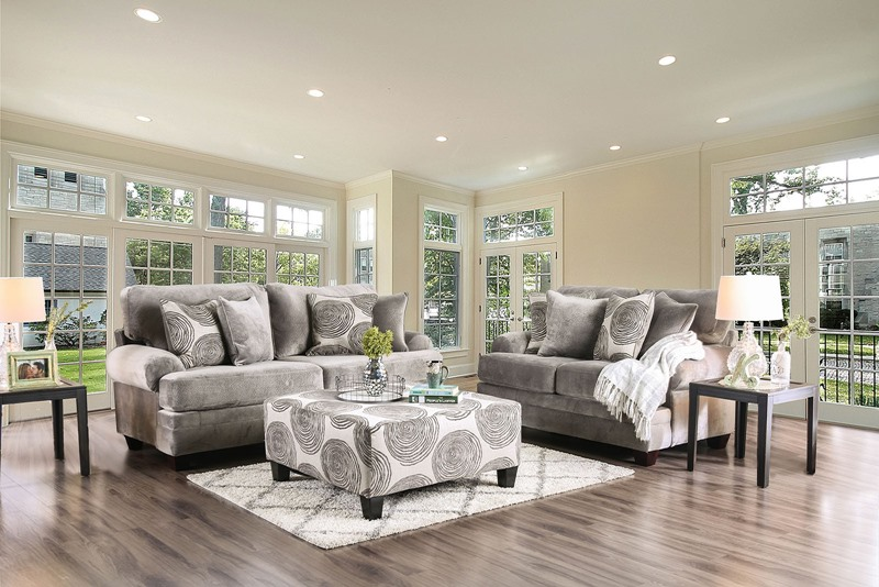 Bonaventura Living Room Set in Gray