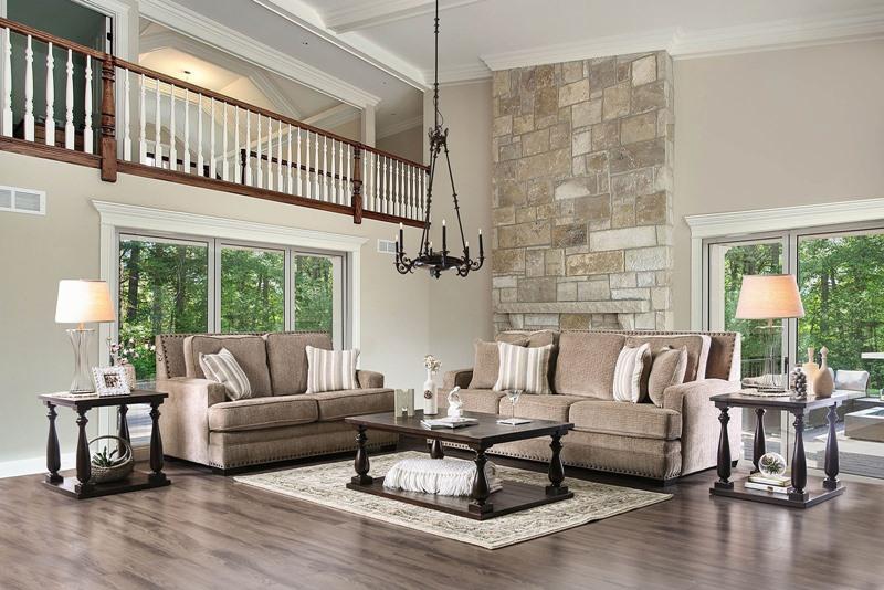 Osvaldo Living Room Set in Light Brown