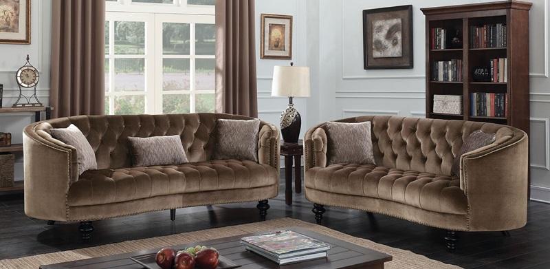 Manuela Living Room Set in Brown