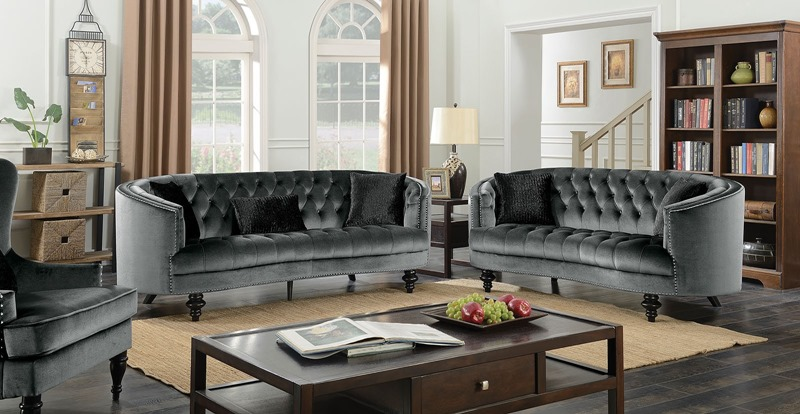Manuela Living Room Set in Gray