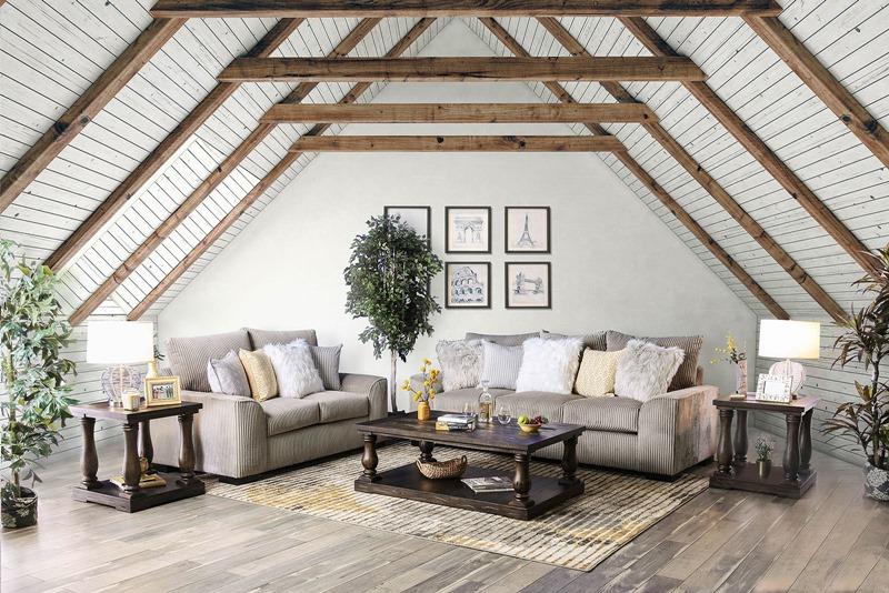 Marjorie Living Room Set in Gray