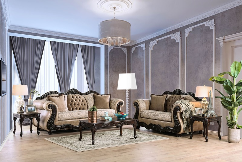 Talitha Formal Living Room Set in Cream