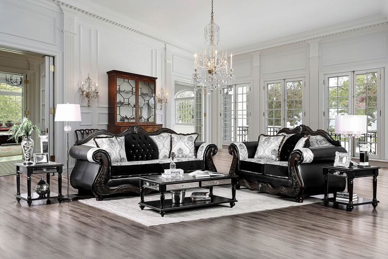Tabatha Formal Living Room Set in Black/Champagne