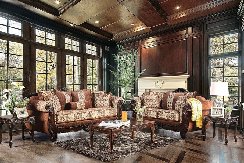 Amadeo Formal Living Room Set in Brown