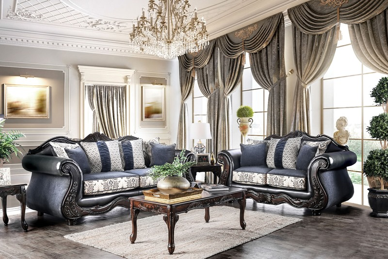 Amadeo Formal Living Room Set in Dark Navy