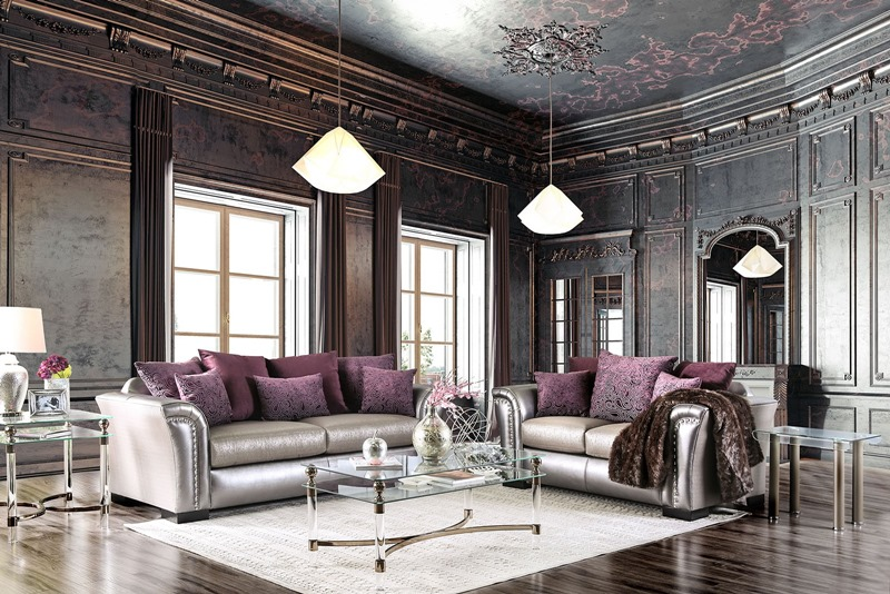 Benigno Living Room Set in Pewter