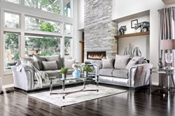 Benigno Living Room Set in Silver