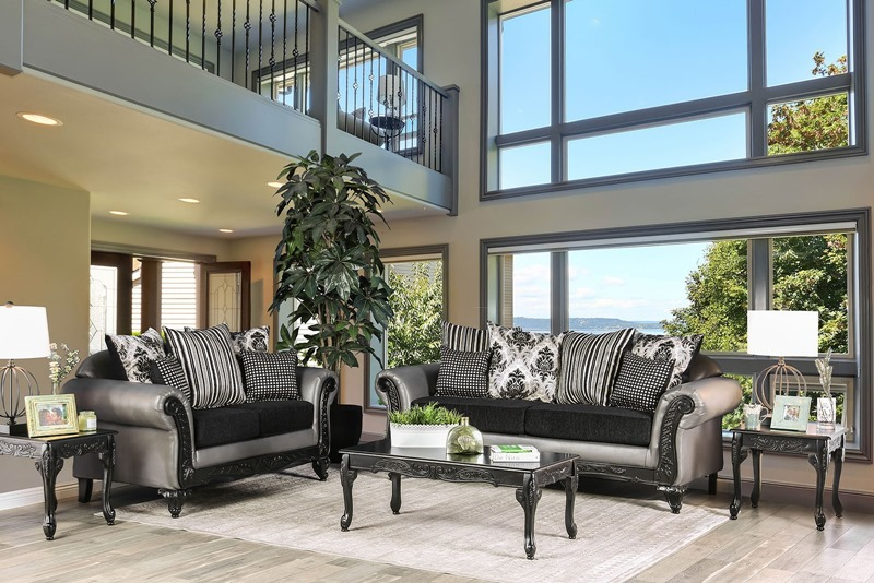 Midleton Formal Living Room Set in Black/ Gray