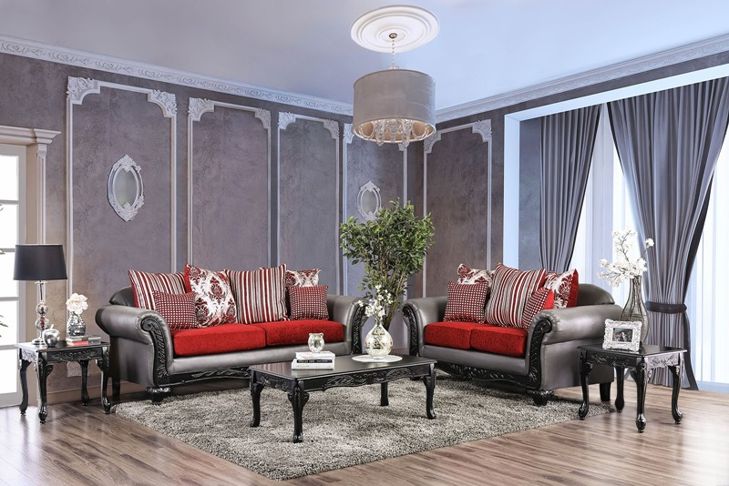 Midleton Formal Living Room Set in Red/ Gray