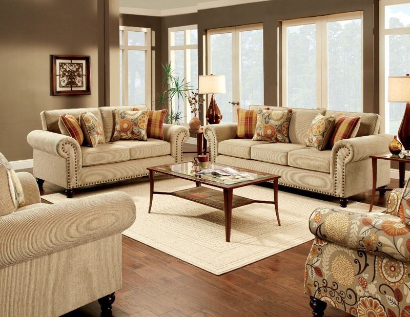 Calloway Living Room Set in Tan