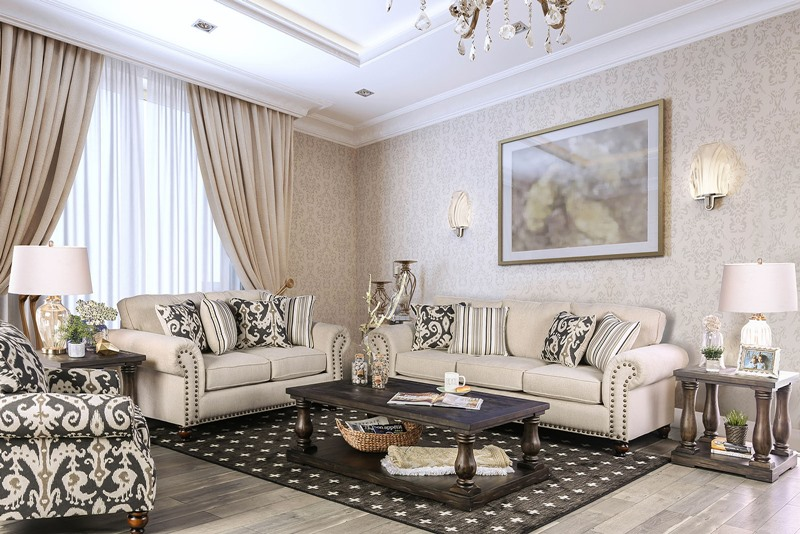Calloway Living Room Set in Ivory