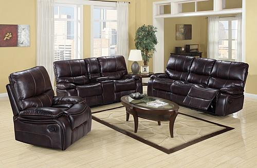 Dover Reclining Living Room Set in Brown