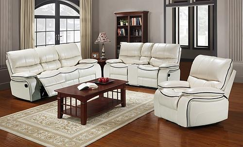 Dover Reclining Living Room Set in Ivory